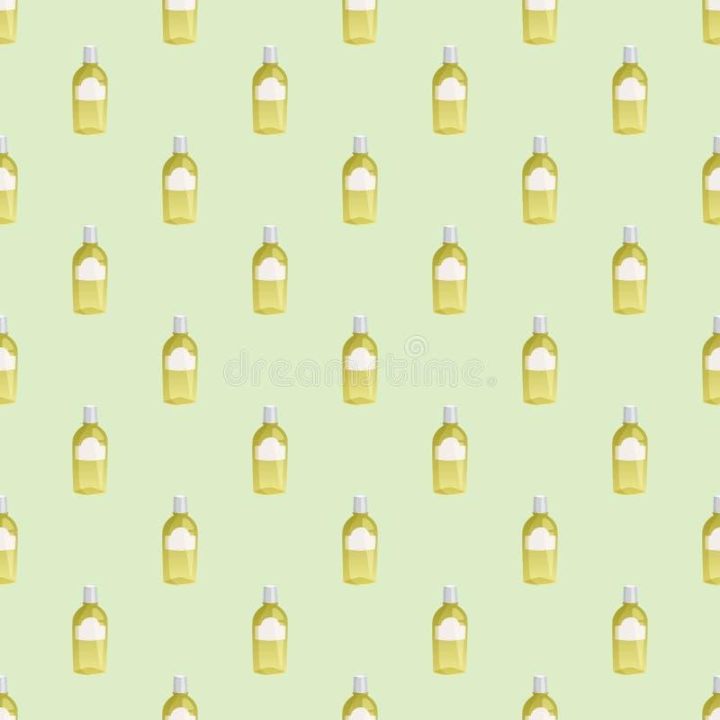 Flaschen des flüssigen Satzvektors des kosmetischen nahtlosen Muster Sahnebehälters der Cosmetologylotionsmake-upschönheit lizenzfreie abbildung