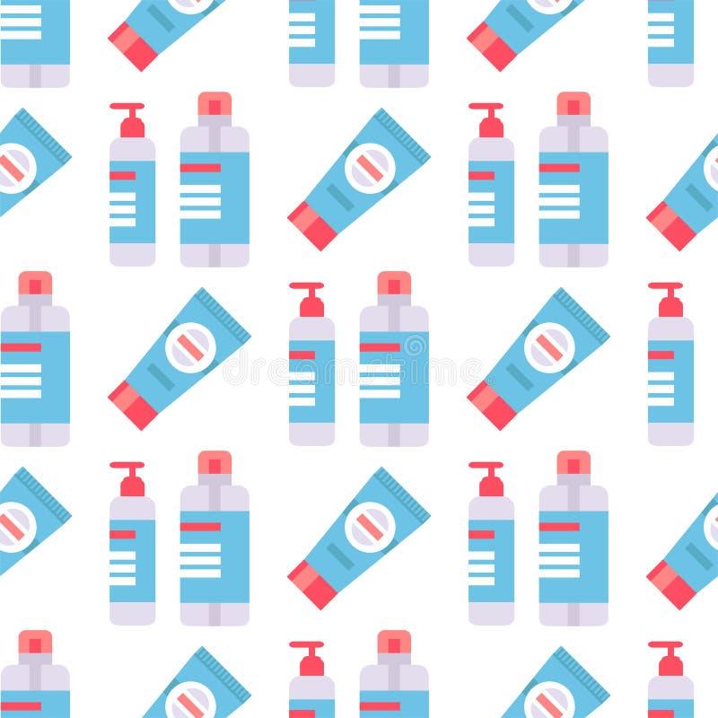Flaschen des flüssigen Satzvektors des kosmetischen nahtlosen Muster Sahnebehälters der Cosmetologylotionsmake-upschönheit stock abbildung
