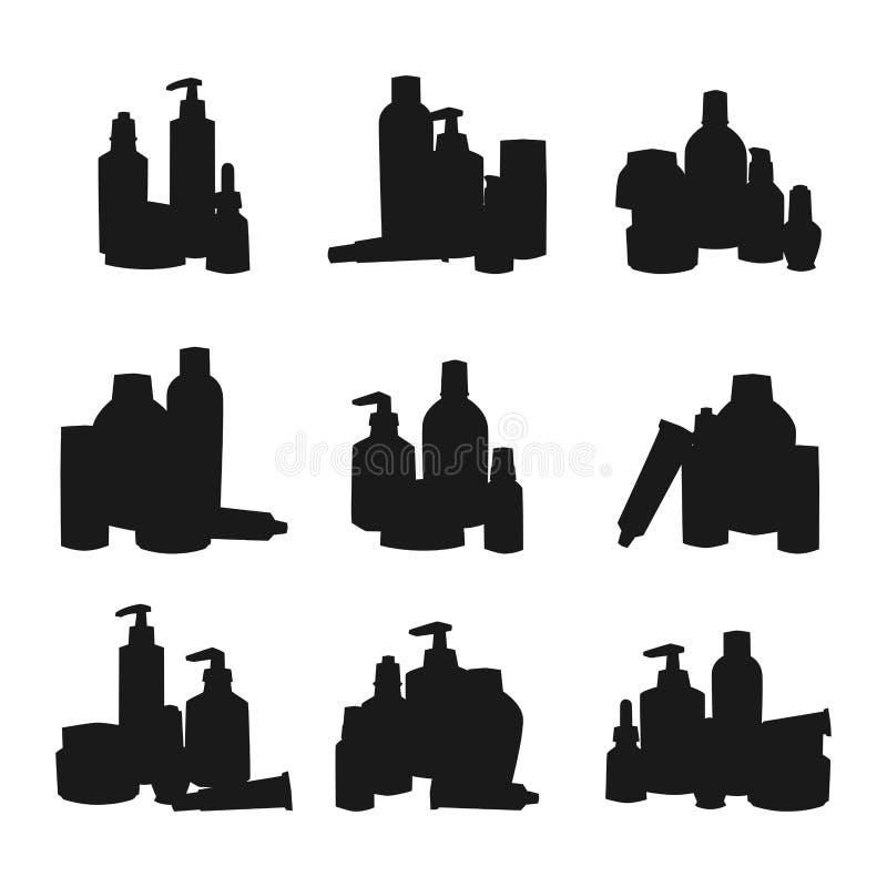 Flaschen des flüssigen Satzvektors des kosmetischen Schattenbild Cosmetologylotionsmake-upschönheits Sahneplastikbehälters lizenzfreie abbildung