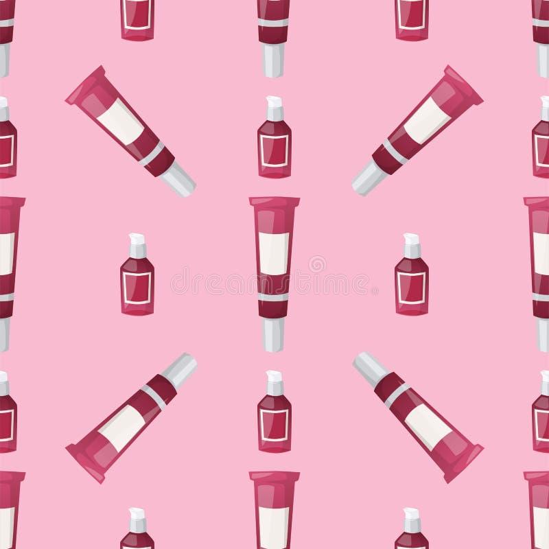 Flaschen des nahtlosen Musters der kosmetischen Cosmetologylotionsmake-upschönheit stock abbildung