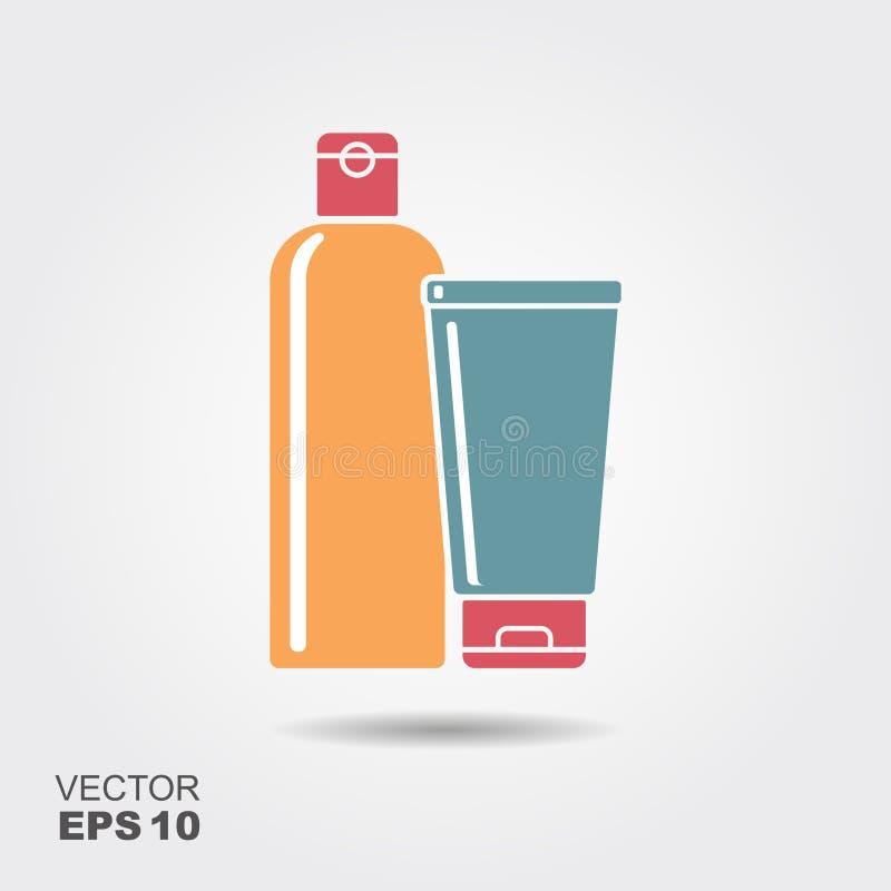 Flaschen des Shampoos oder der Pflegespülung in der flachen Art vektor abbildung