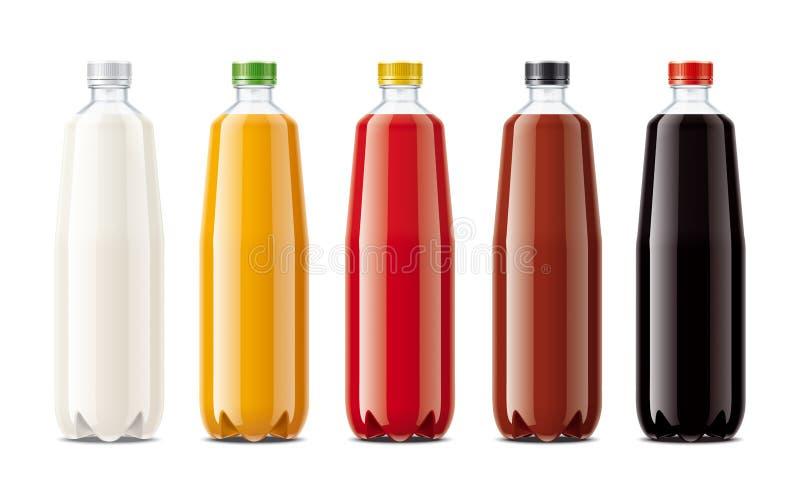Flaschen für Saft, Molkereigetränke und anderes stockfotos