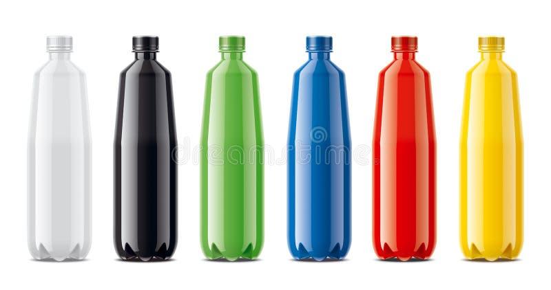Flaschen für Saft, Molkereigetränke und anderes Farbige, nicht transparente Version lizenzfreies stockfoto