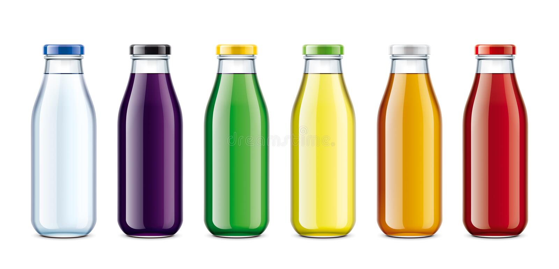 Flaschen für Wasser, Saft, Limonade und andere Getränke lizenzfreies stockfoto