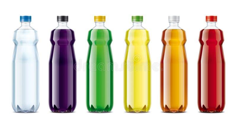Flaschen für Wasser, Saft, Limonade und andere Getränke stockfoto