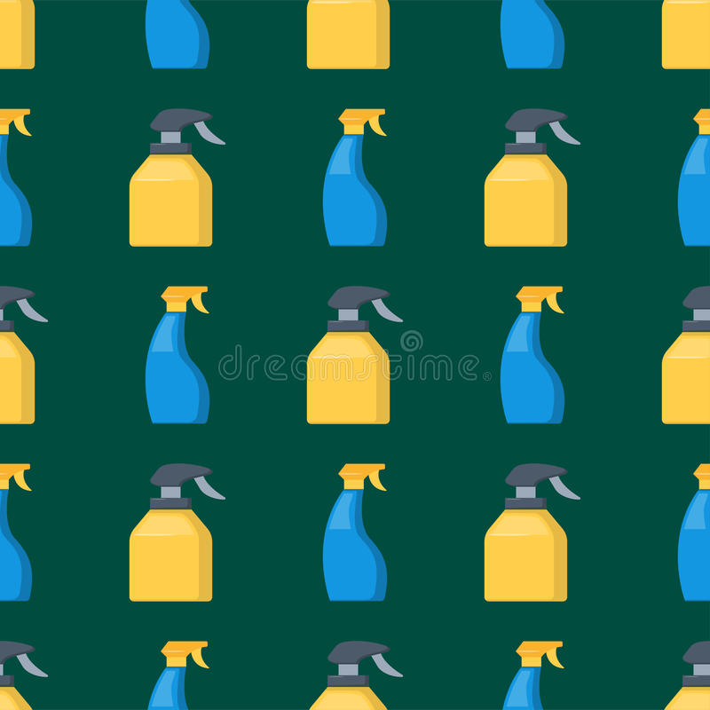 Flaschen Haushaltschemikalien liefert Reinigersatz des nahtlosen Plastikmusters der Reinigungshausarbeit flüssigen inländischen f lizenzfreie abbildung