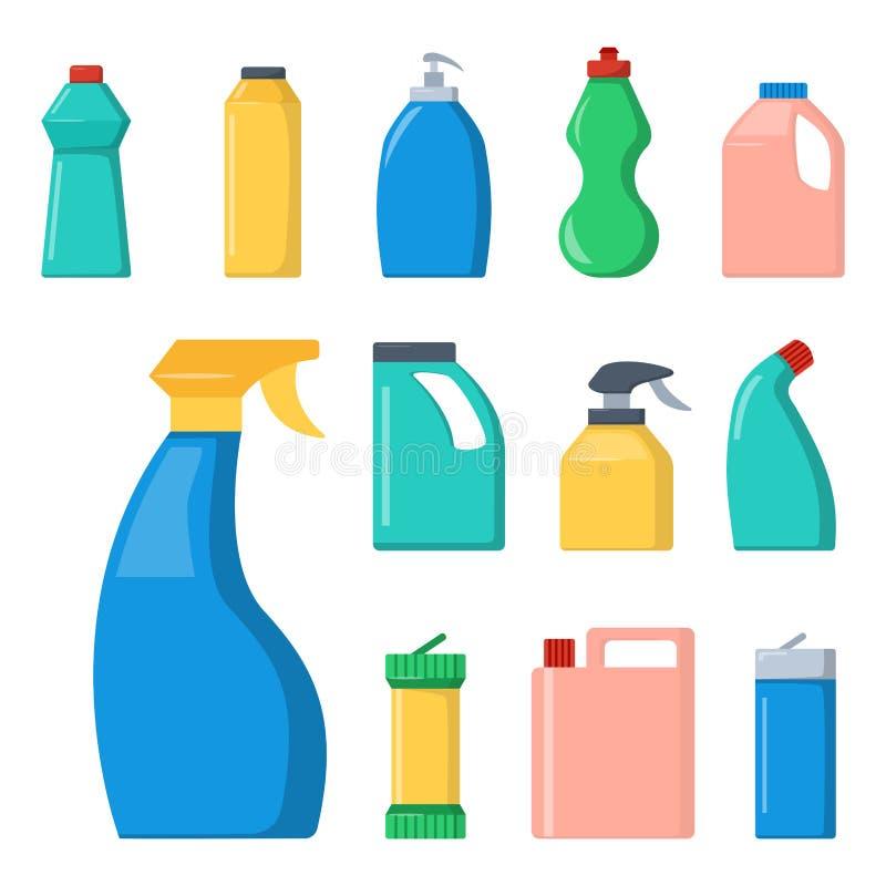 Flaschen Haushaltschemikalienversorgungen, die flüssigen inländischen flüssigen Reiniger der Hausarbeit säubern, verpacken Vektor vektor abbildung