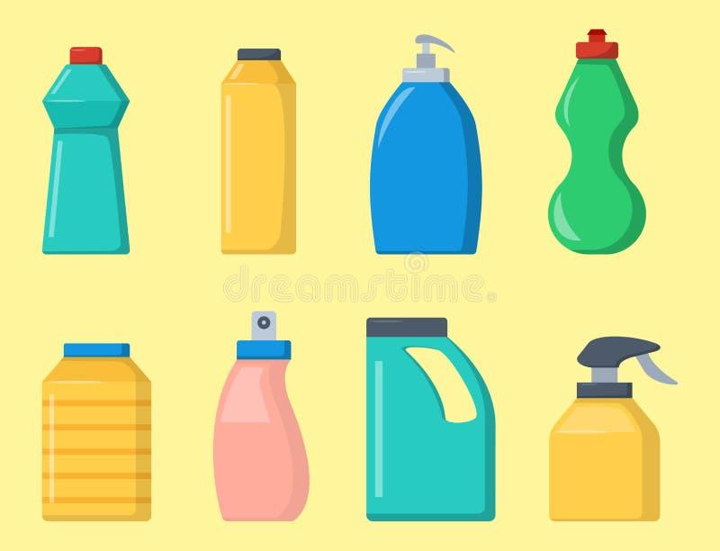 Flaschen Haushaltschemikalienversorgungen, die flüssigen inländischen flüssigen Reiniger der Hausarbeit säubern, verpacken Vektor stock abbildung