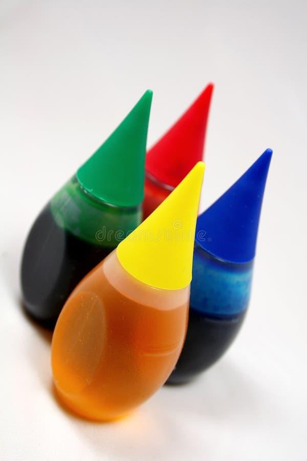 Flaschen Lebensmittelfarbe stockfotografie
