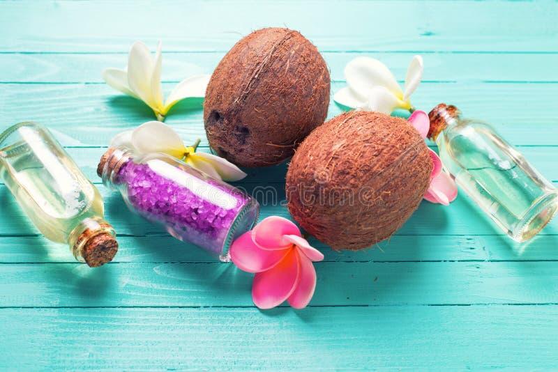 Flaschen mit Kokosnussöl, Kokosnüssen und Seesalz auf hellem wo lizenzfreies stockfoto