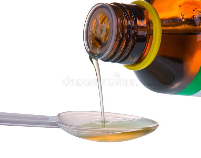 Flaschen-strömender Medizin-Sirup im Dosis-Löffel lizenzfreie stockfotos