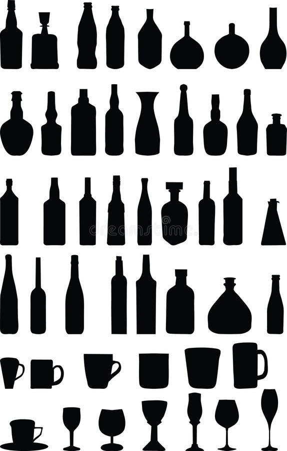 Flaschen und Gläser stock abbildung