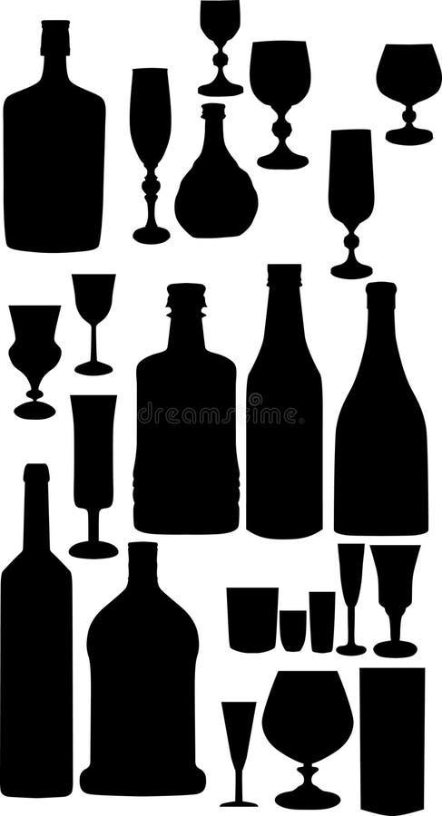 Flaschen und Glasschattenbilder lizenzfreie abbildung