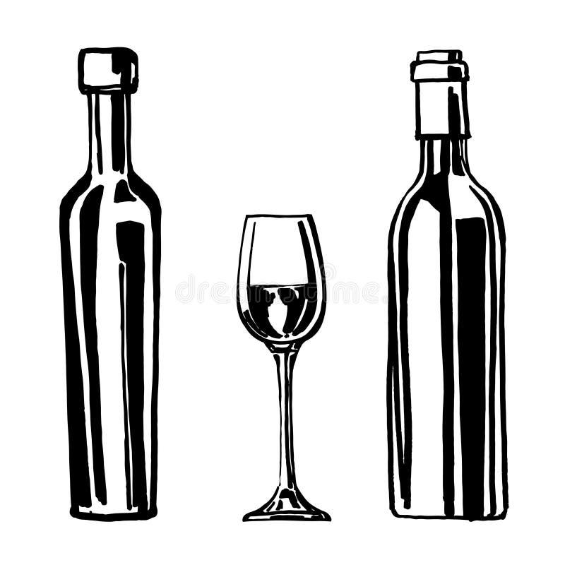 Flaschen und Weinglas lokalisiert auf einem weißen Hintergrund Hand gezeichnet vektor abbildung