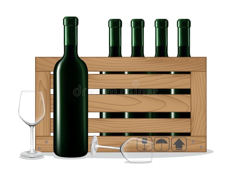 Flaschen Wein in der Holzkiste und im Glas wine stock abbildung