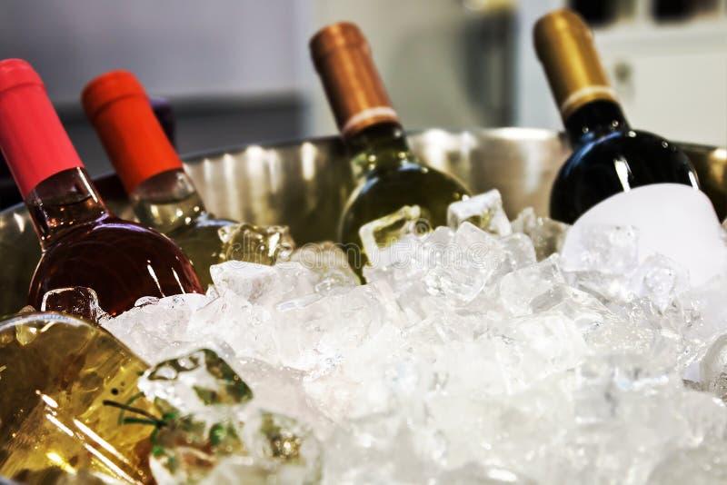 Flaschen Wein im Eis am Probieren lizenzfreie stockfotografie