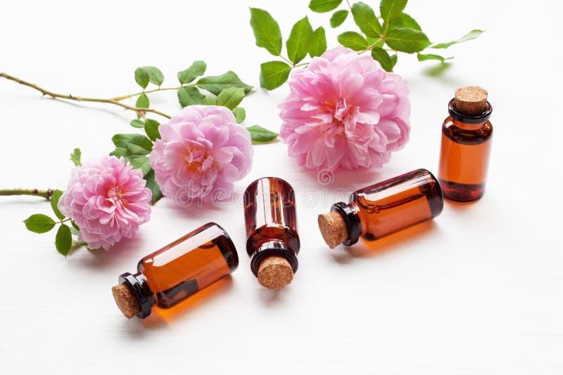 Flaschen wesentliches rosafarbenes Öl für Aromatherapie, Huntington Rose lizenzfreies stockfoto