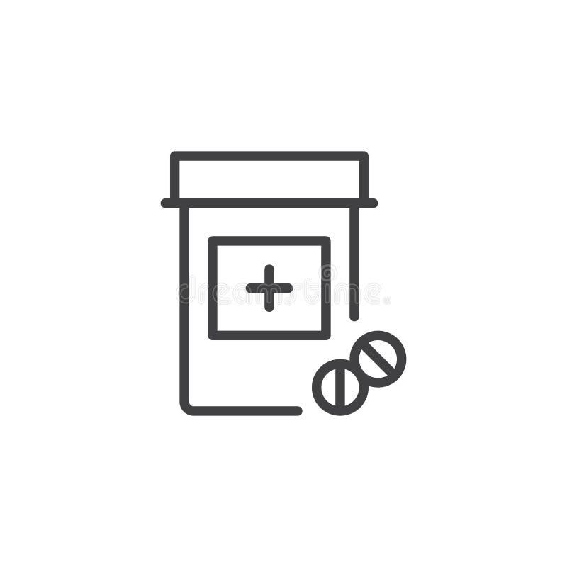 Flaschenentwurfsikone der medizinischen Tabletten vektor abbildung