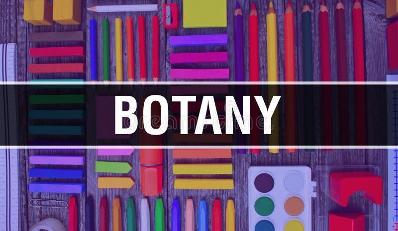 Flaschenhafter Text mit Zurück zu Schultapeten Hintergrundkonzept für Botanik und Schulbildung Schreibwaren und Botanik stockbilder