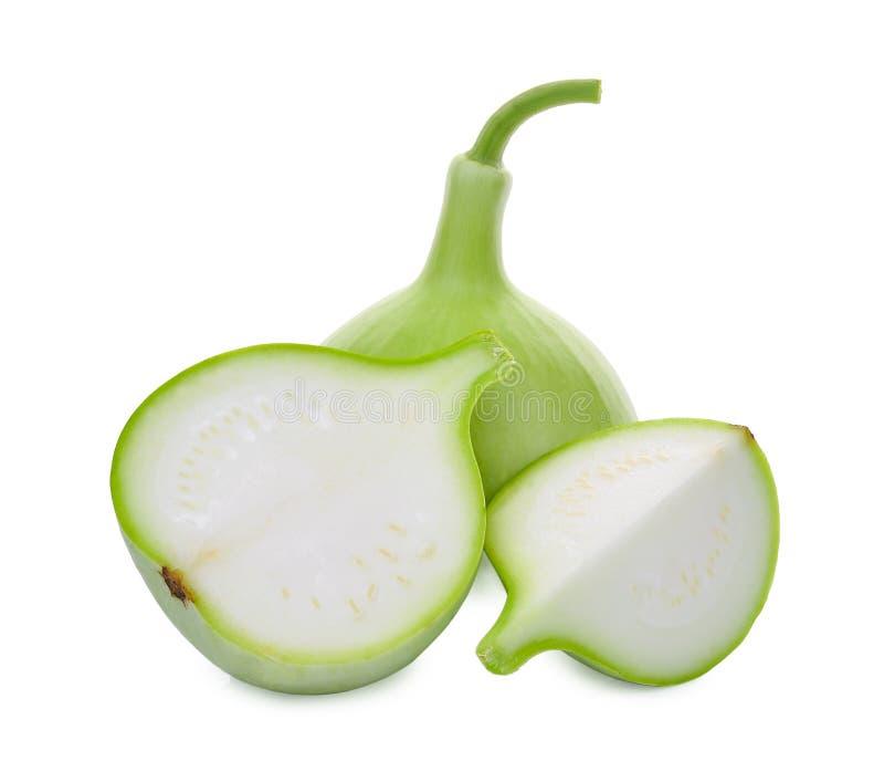 Flaschenkürbisfrucht mit der Scheibe lokalisiert auf Weiß lizenzfreies stockbild