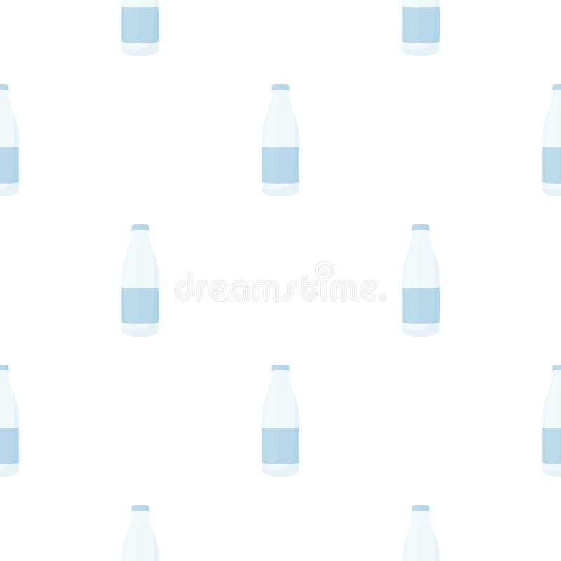 Flaschenmilch-Ikonenkarikatur Einzelnes Bio, eco, Bioproduktikone von der großen Milchkarikatur vektor abbildung