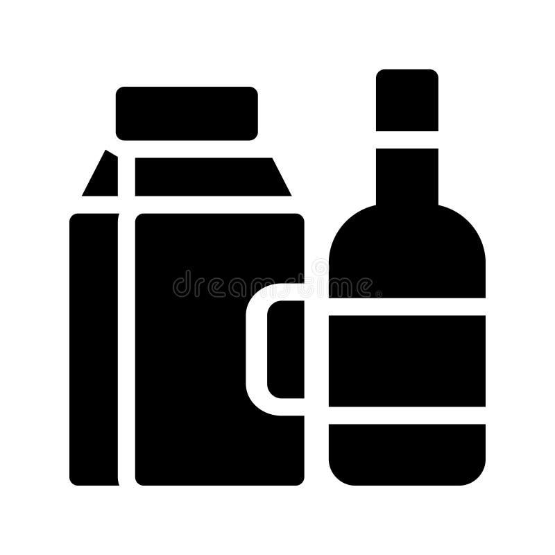 Flaschenmilchsatz Glyph-Vektorikone lizenzfreie abbildung