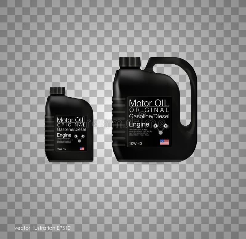 FlaschenMotorölhintergrund, Vektorillustration Transparenter Hintergrund lizenzfreie abbildung