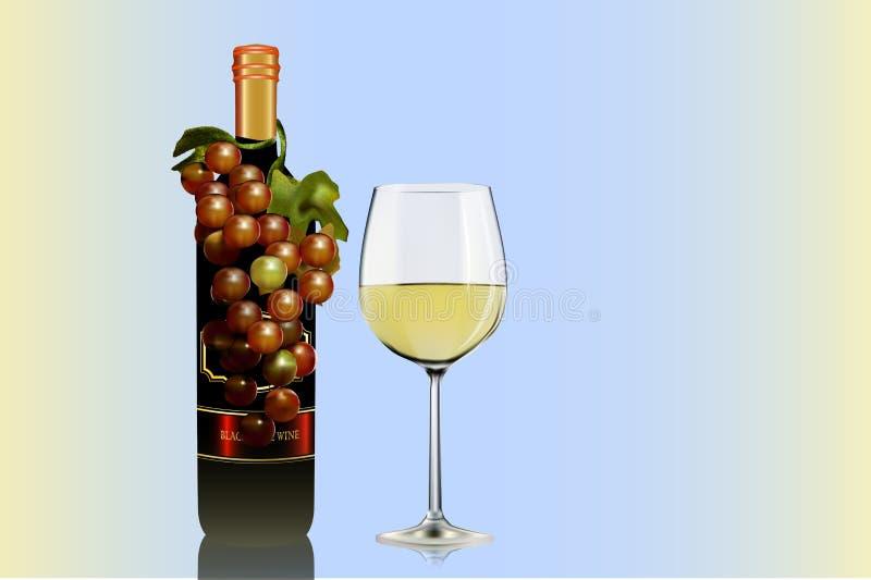 Flaschentraube und Weinglasillustrator stockbilder