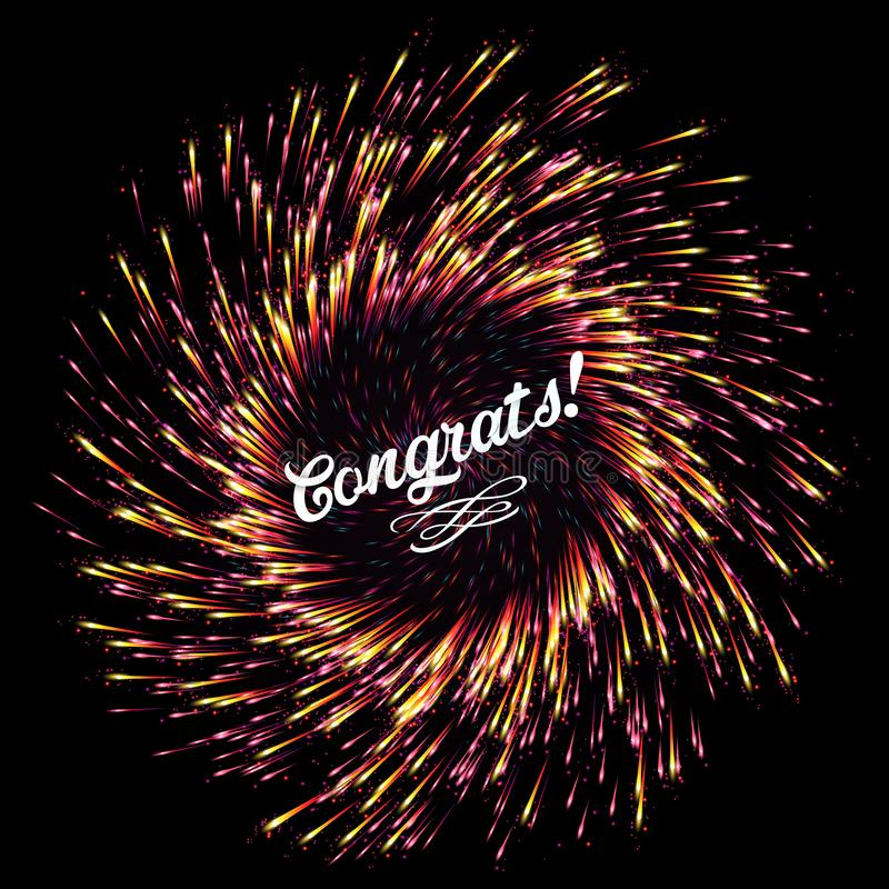 The flash of abstract fireworks on a dark background. Bright explosion festive lights. Congratulation. Festive New Year`s salute. royalty free illustration