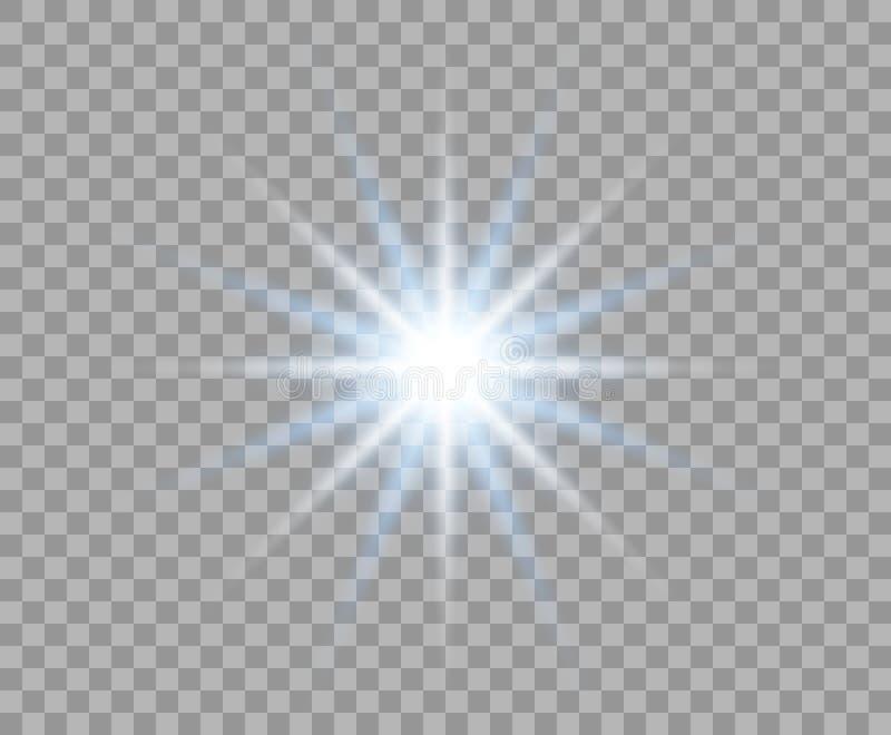 Flash azul que brilla intensamente con los rayos radiales Sol abstracto Explosi?n brillante de la luz Fondo aislado elemento del  libre illustration