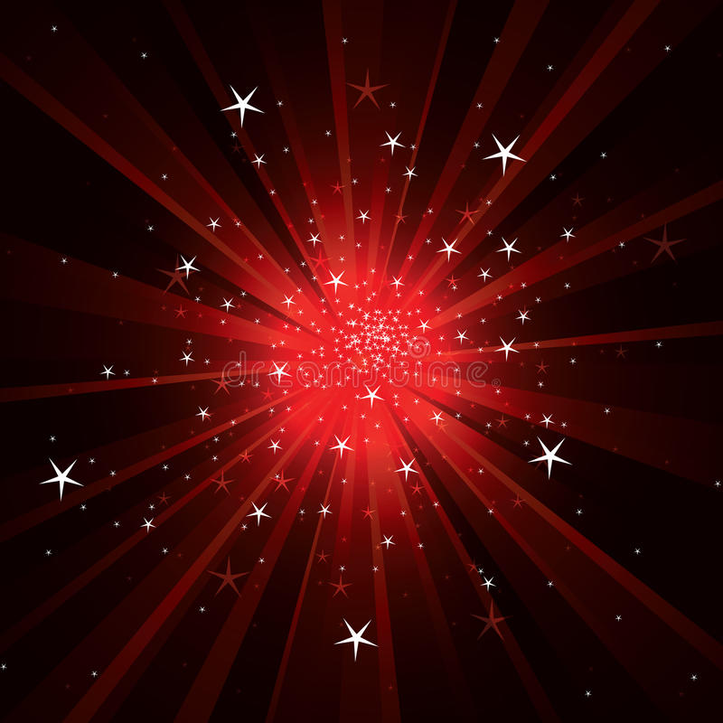 Flash background with light rays and stars. Red flash background with light rays and stars