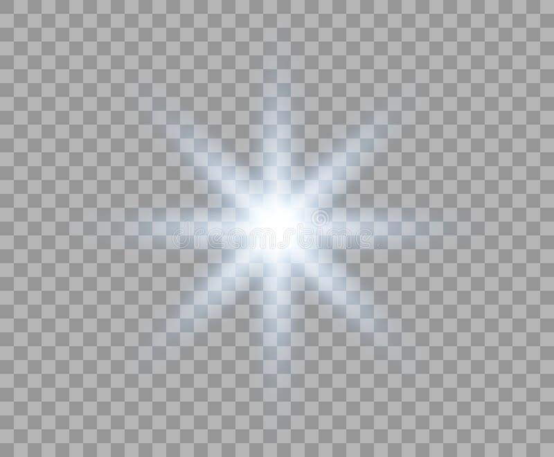 Flash blu che emette luce con i raggi radiali Sole astratto Squarcio di luce luminoso Il Natale di vettore progetta il fondo isol illustrazione vettoriale