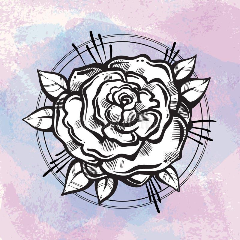 Flash bonito da tatuagem do blackwork Rose Flower Ilustração isolada tirada mão do vetor Projeto elegante da tatuagem, fomance es ilustração royalty free