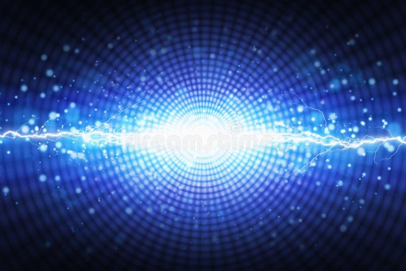 Flash brillante de la luz azul en el fondo radial, lightnin brillante stock de ilustración