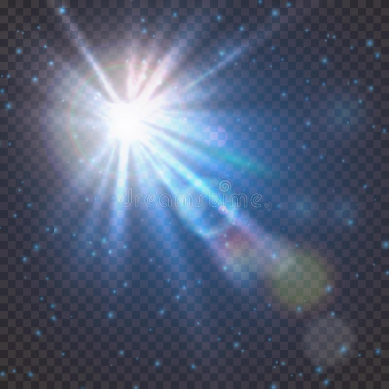 Flash burst of star light with blur and lens flare effect. Shining sun glow. Sparkling light of sun rays on transparent. Background. Neon blue beam explosion vector illustration