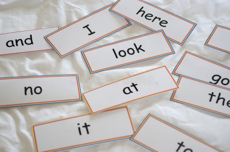 Flash cards with first words. For reading royalty free stock photos