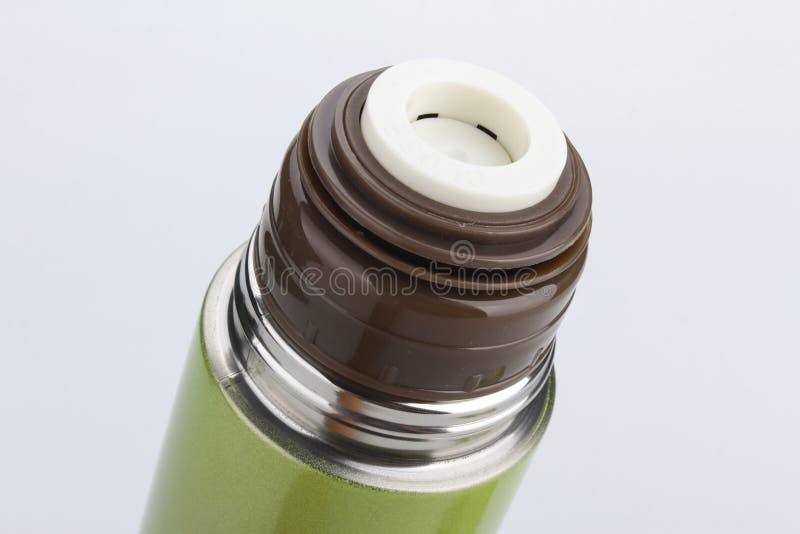 Flash da garrafa térmica isolado no fundo branco fotografia de stock