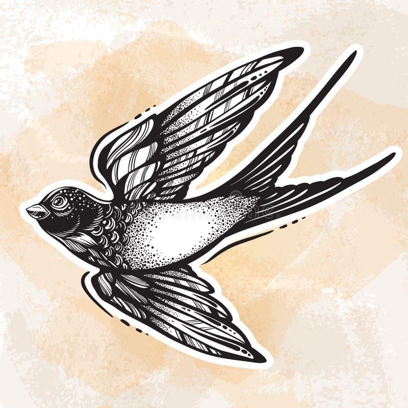 Flash da tatuagem de Blackwork Pássaro de voo belamente detalhado da andorinha Projeto retro do estilo do vintage Ilustração isol ilustração stock