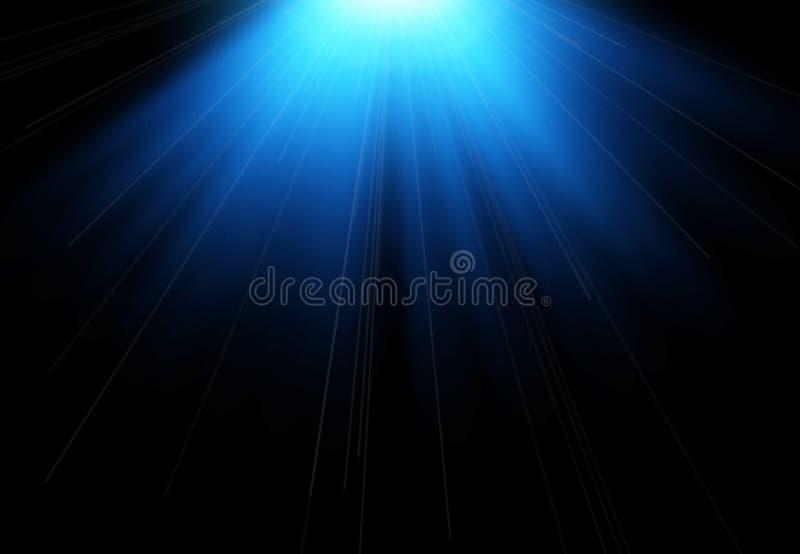 Flash de Sun con los rayos y el proyector El efecto luminoso, sol irradia, emite en fondo negro stock de ilustración