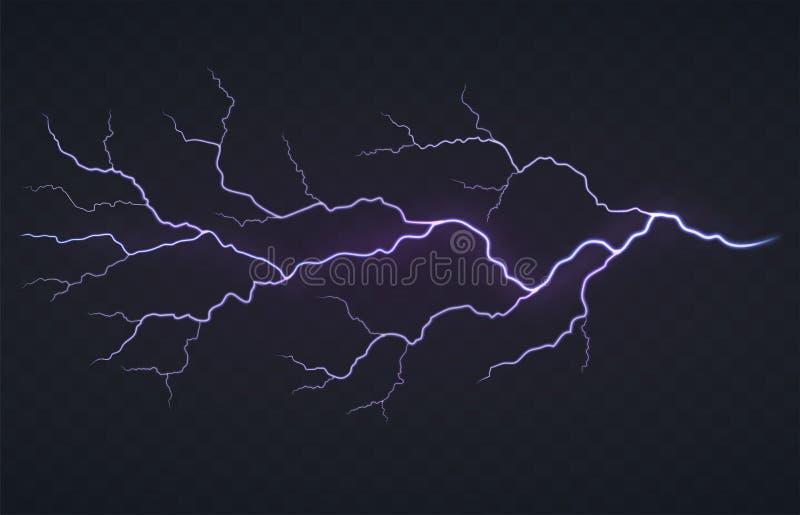 Flash del relámpago, tempestad de truenos en un fondo transparente negro Descarga eléctrica que brilla intensamente brillante ilustración del vector