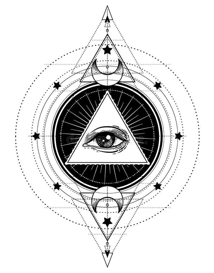 Flash del tatuaje de Blackwork Ojo de Providence Símbolo masónico Todo el s ilustración del vector