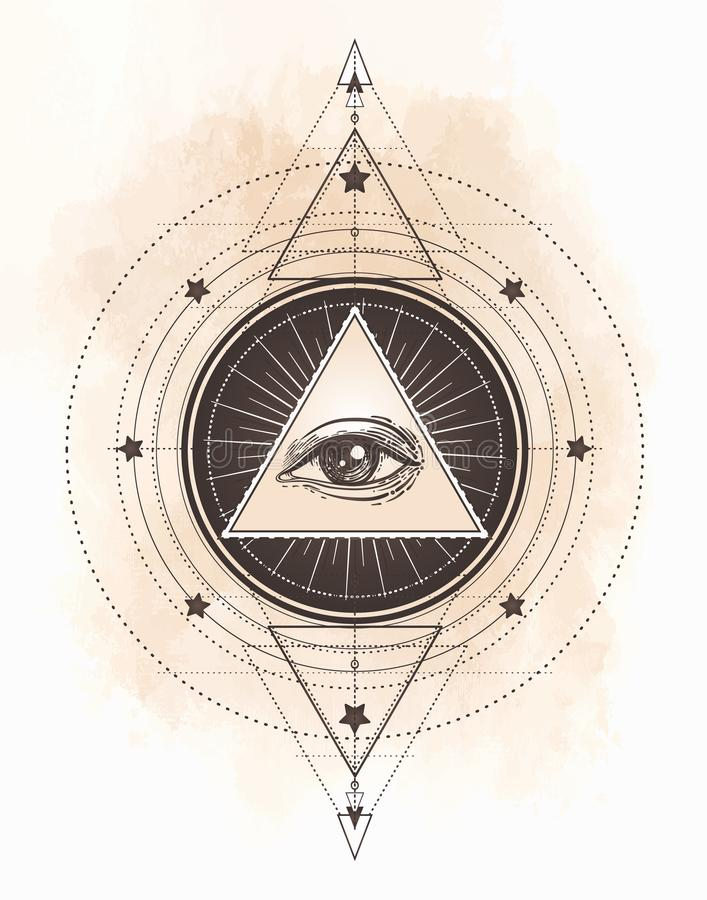 Flash del tatuaje Ojo de Providence Símbolo masónico Todo el ojo que ve libre illustration
