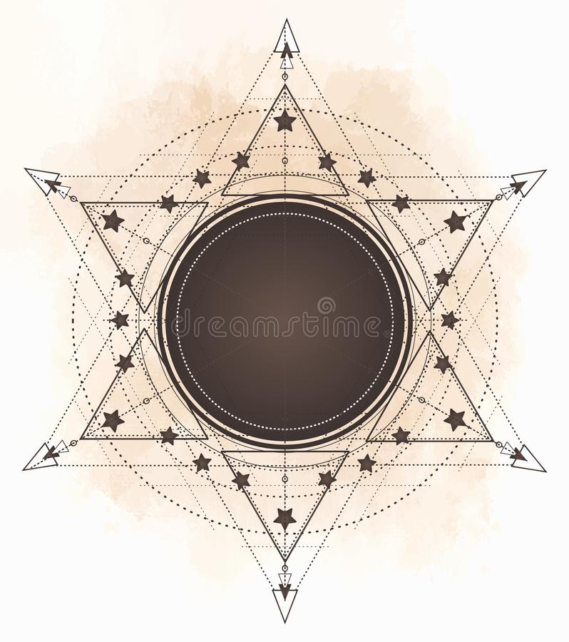 Flash del tatuaje Ojo de Providence Símbolo masónico Todo el ojo que ve stock de ilustración