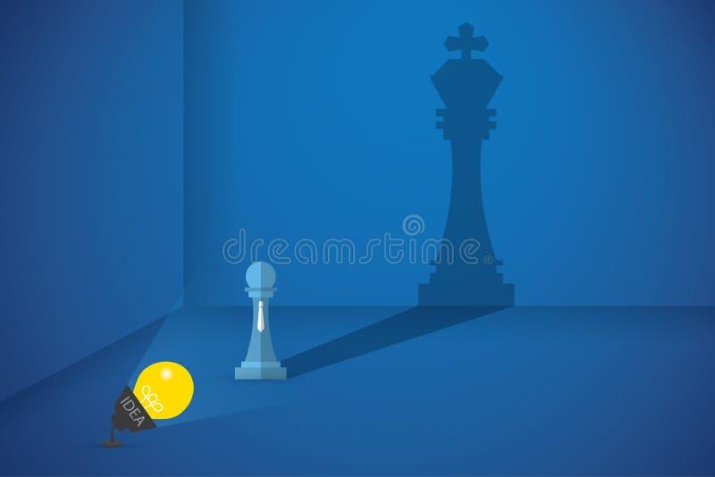 Flash della lampadina gli scacchi del pegno alla grande ombra di manifestazioni di scacchi di re, dell'idea e dell'affare concept illustrazione vettoriale