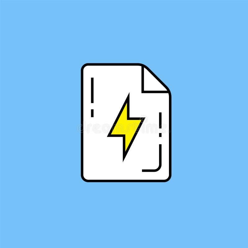 Flash document page line icon stock illustration