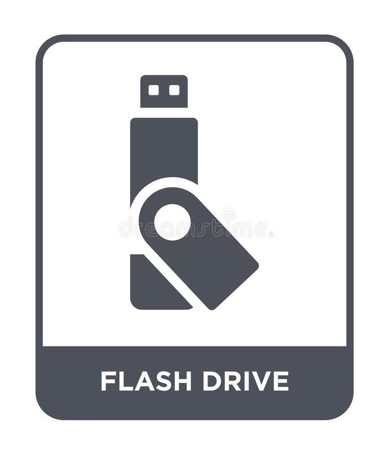 Flash drive icon in trendy design style. flash drive icon isolated on white background. flash drive vector icon simple and modern. Flat symbol for web site stock illustration