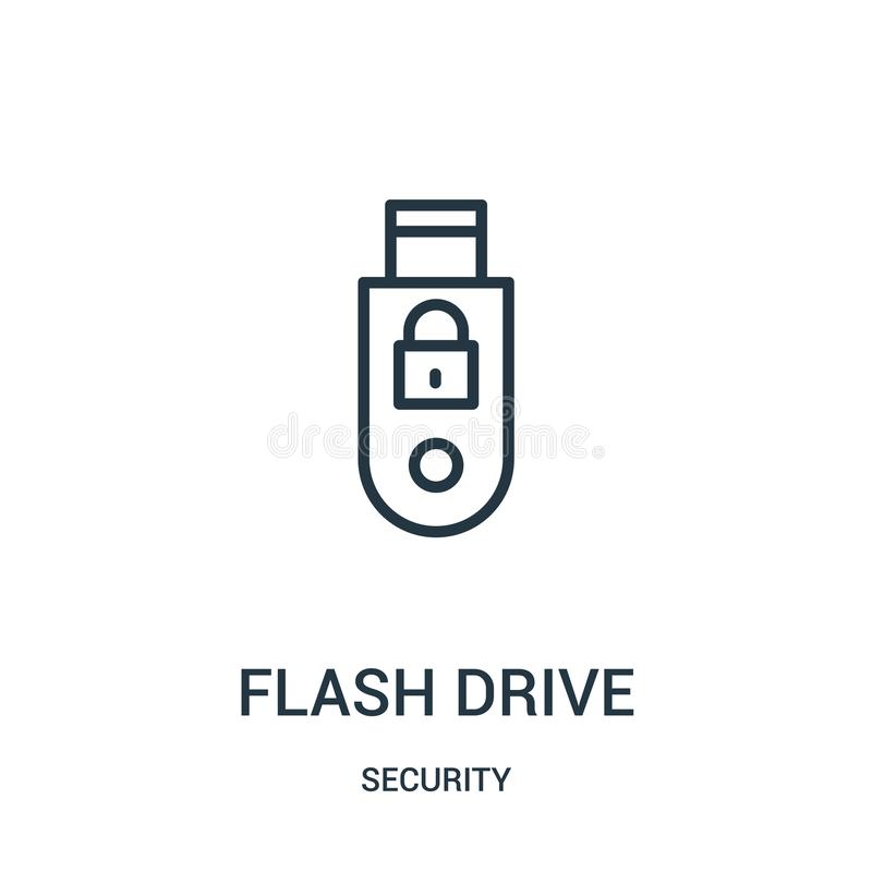 flash drive icon vector from security collection. Thin line flash drive outline icon vector illustration. Linear symbol stock illustration