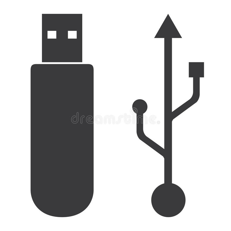 Flash drive USB memory icon on white background. royalty free illustration
