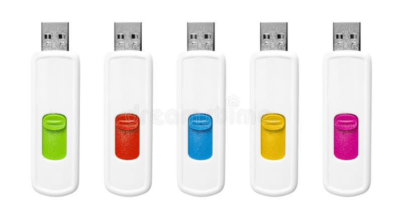 Flash drives set. Flash drives set isolated on white background royalty free stock image