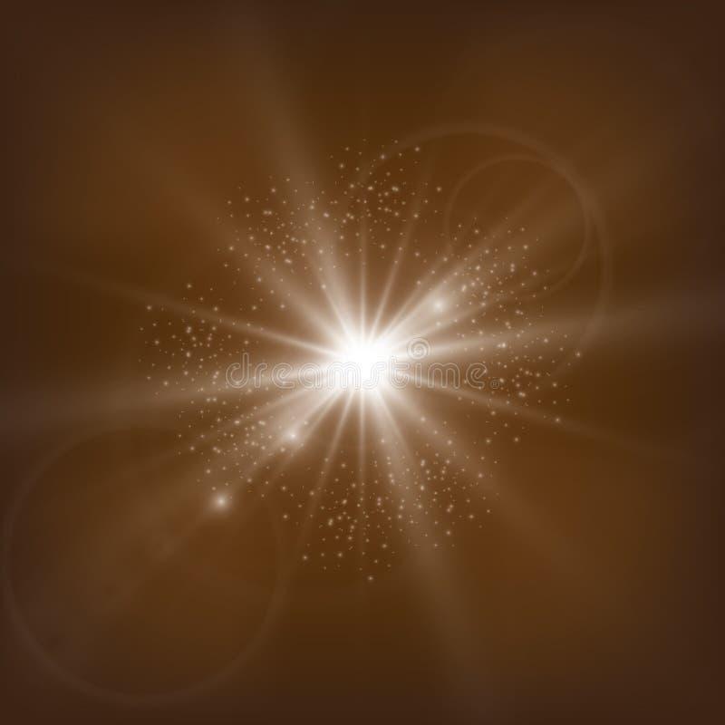 Flash e lustro leggeri delle lanterne antiche oro luci defocused di concerto su un fondo protetto illustrazione vettoriale